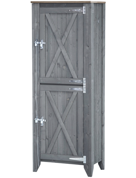 Hochschrank »Typ 564«, für Outdoorküche, Holz, hellgrau, 2 Fachböden