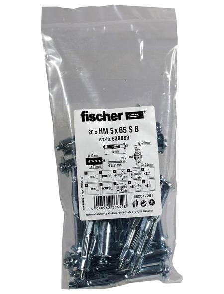 FISCHER Hohlraum-Metalldübel, 20 Stück, 5 x 65 mm