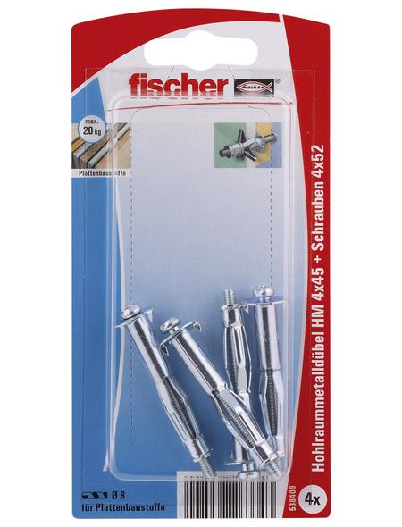 FISCHER Hohlraum-Metalldübel, 4 Stück, 4 x 45 mm