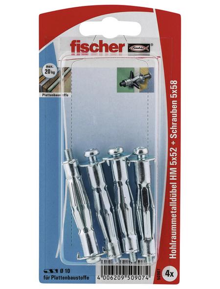 FISCHER Hohlraum-Metalldübel, 4 Stück, 5 x 52 mm