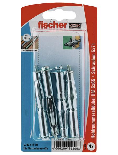 FISCHER Hohlraum-Metalldübel, 4 Stück, 5 x 65 mm