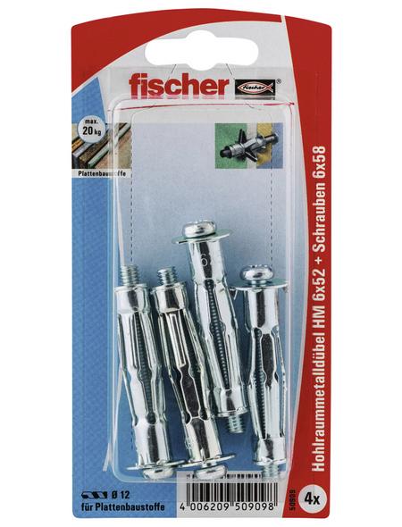 FISCHER Hohlraum-Metalldübel, 4 Stück, 6 x 52 mm