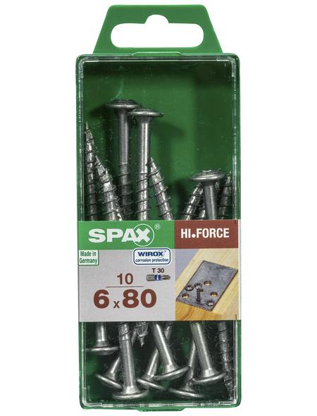 SPAX Holzbauschraube, 6 mm, Stahl, 10 Stk., HI.FORCE 6X80 M