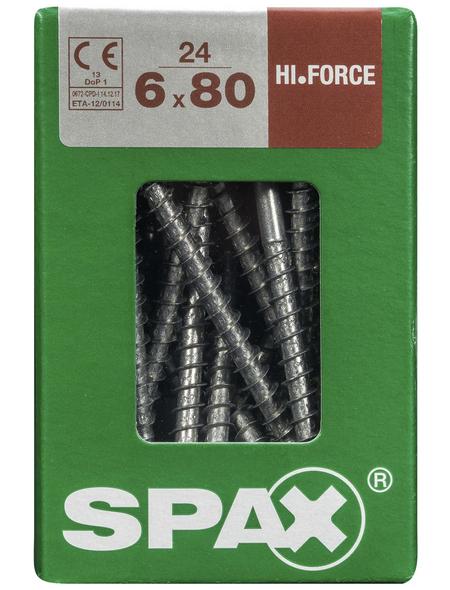 SPAX Holzbauschraube, 6 mm, Stahl, 24 Stk., HI.FORCE 6X80 L