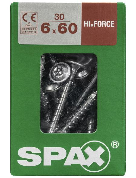 SPAX Holzbauschraube, 6 mm, Stahl, 30 Stk., HI.FORCE 6X60 L