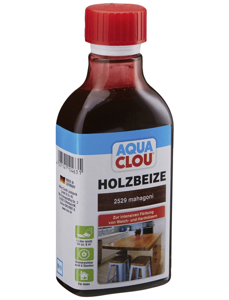 CLOU Holzbeize »AQUA«, Gebindegröße: 0,25 l, mahagoni