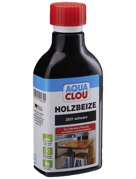 CLOU Holzbeize »AQUA«, Gebindegröße: 0,25 l, schwarz