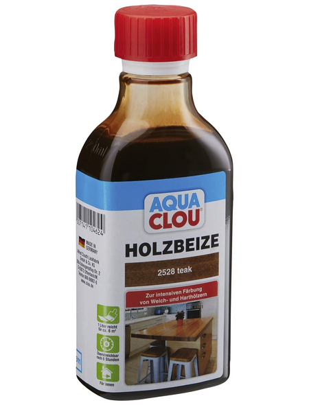 CLOU Holzbeize »AQUA«, Gebindegröße: 0,25 l, teak