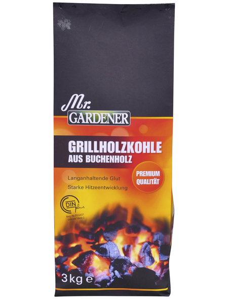 MR. GARDENER Holzkohle, aus Buchenholz, 3 kg