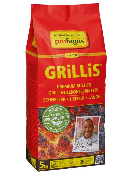 GRILLIS Holzkohlebriketts, aus Buchenholz, 5 kg