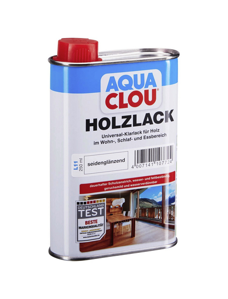 CLOU Holzlack »AQUA«, für innen, 0,25 l, farblos, seidenglänzend