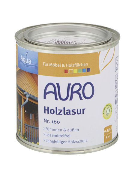 AURO Holzlasur »Aqua«, für innen & außen, 0,375 l, Oxid Grün, seidenglänzend