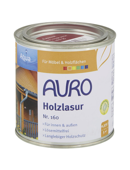 AURO Holzlasur »Aqua«, für innen & außen, 0,375 l, Rubinrot, untergrundabhängig