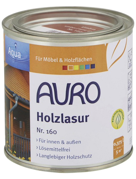 AURO Holzlasur »Aqua«, für innen & außen, 0,375 l, Umbra, untergrundabhängig