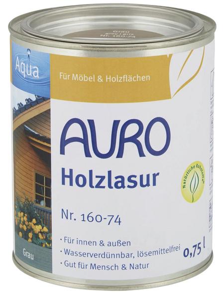 AURO Holzlasur »Aqua«, für innen & außen, 0,75 l, grau, seidenglänzend