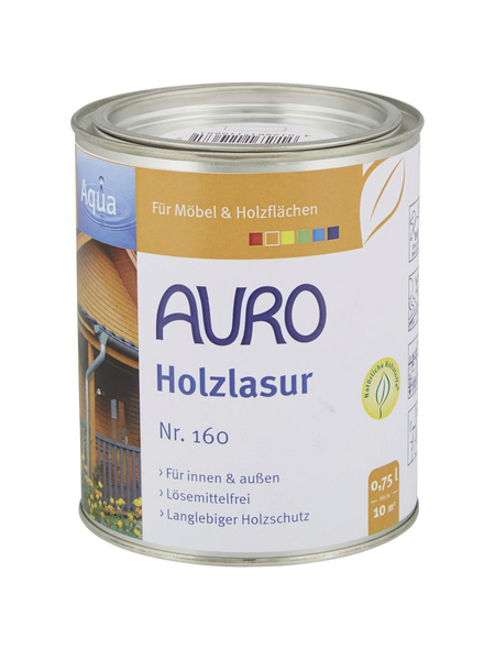 AURO Holzlasur »Aqua«, für innen & außen, 0,75 l, Ockergelb, seidenglänzend
