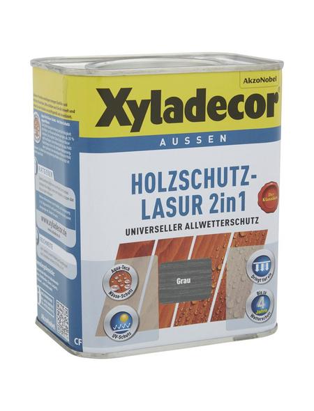 XYLADECOR Holzschutz-Lasur, für außen, 0,75 l, grau, matt