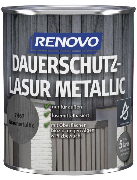 RENOVO Holzschutz-Lasur für außen, 0,75 l, grau, seidenglänzend