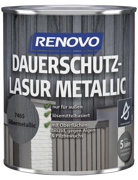 RENOVO Holzschutz-Lasur für außen, 0,75 l, silber-metallic, seidenglänzend