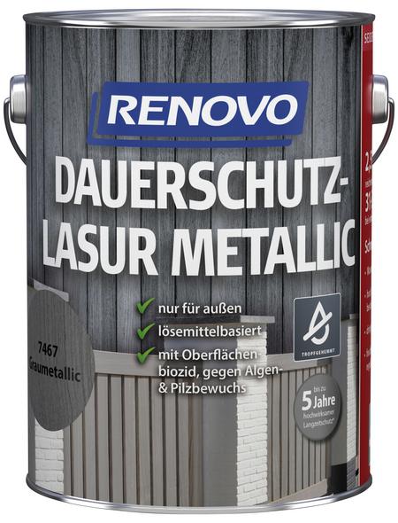 RENOVO Holzschutz-Lasur für außen, 2,5 l, grau, seidenglänzend