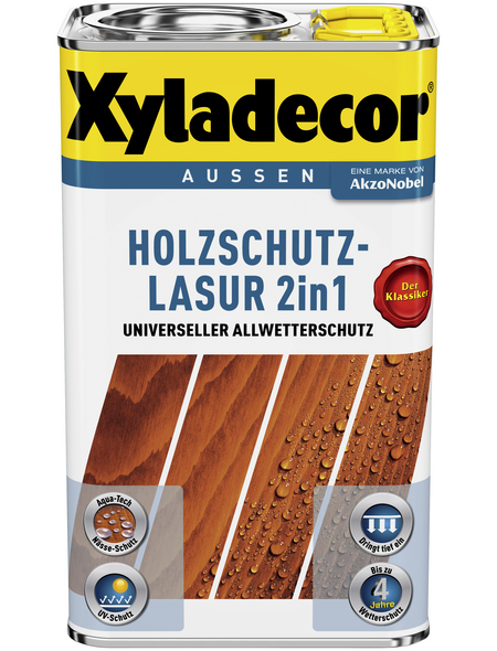 XYLADECOR Holzschutz-Lasur für außen, 2,5 l, Kastanie, matt