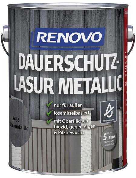 RENOVO Holzschutz-Lasur für außen, 2,5 l, silber-metallic, seidenglänzend