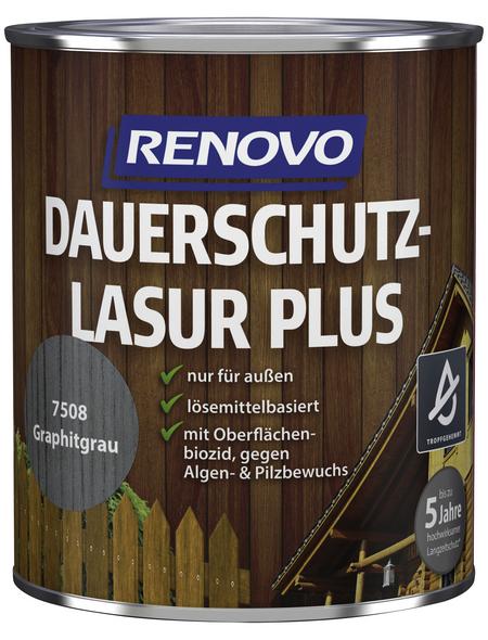 RENOVO Holzschutz-Lasur »PLUS« für außen, 0,75 l, graphitgrau