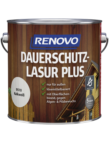 RENOVO Holzschutz-Lasur »PLUS«, Kalkweiß