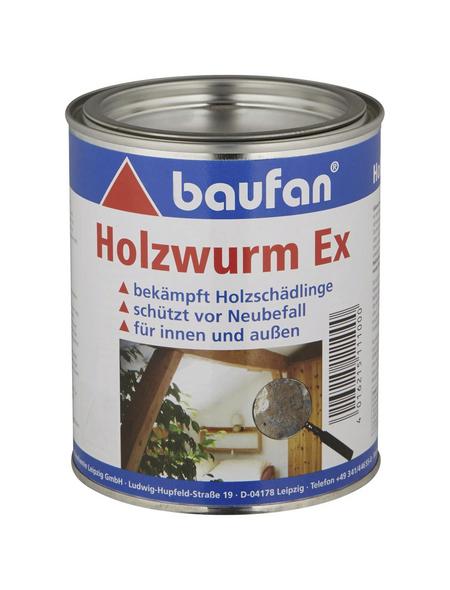 BAUFAN Holzschutzmittel »Holzwurm Ex«, für innen & außen, 0,75 l, farblos