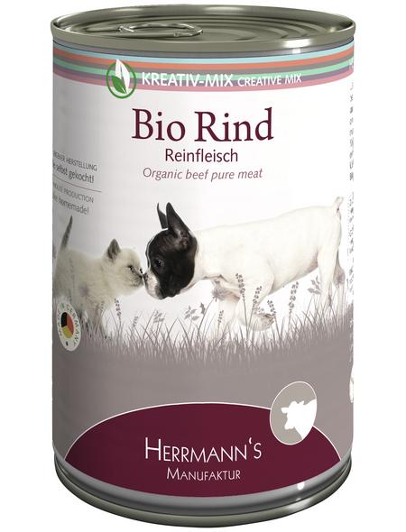 HERMANNS MANUFAKTUR Hunde- & Katzennassfutter »Kreativ-Mix«, Rind, 12x400 g
