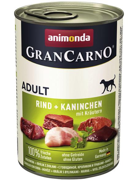 GranCarno® Hunde-Nassfutter »Adult«, Rind/Kaninchen/Kräuter, 400 g