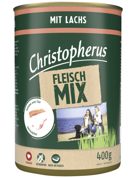 CHRISTOPHERUS Hunde-Nassfutter »Fleischmix«, Lachs, 400 g