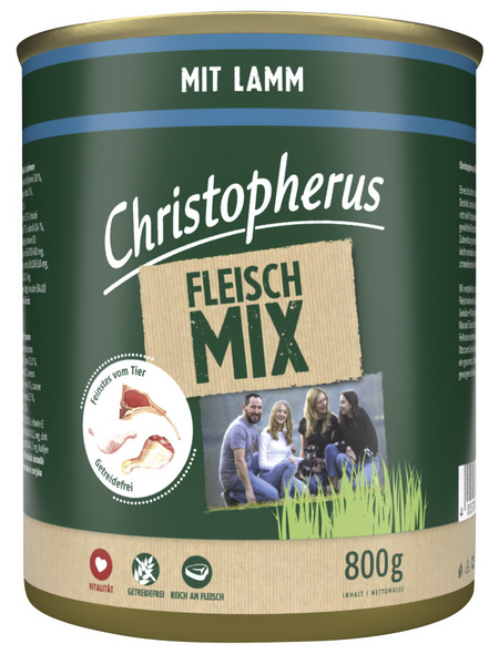CHRISTOPHERUS Hunde-Nassfutter »Fleischmix«, Lamm, 800 g