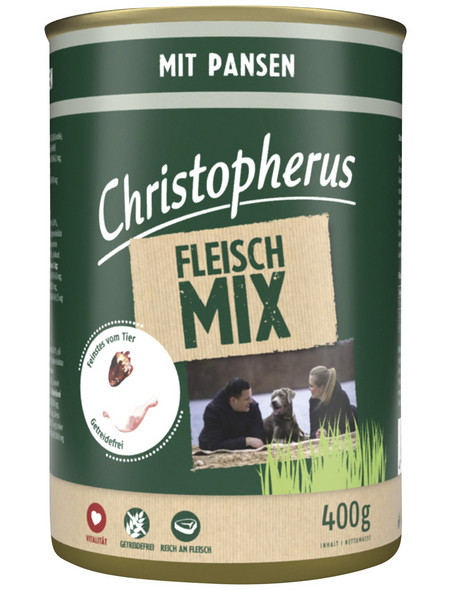 CHRISTOPHERUS Hunde-Nassfutter »Fleischmix«, Pansen, 400 g
