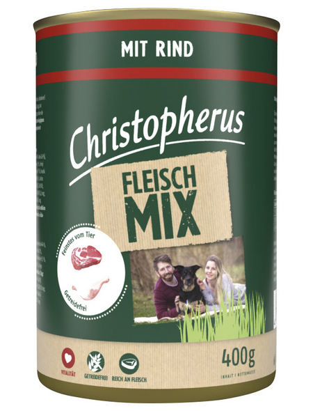 CHRISTOPHERUS Hunde-Nassfutter »Fleischmix«, Rind, 400 g