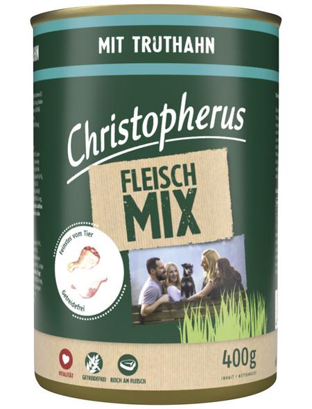 CHRISTOPHERUS Hunde-Nassfutter »Fleischmix«, Truthahn, 400 g