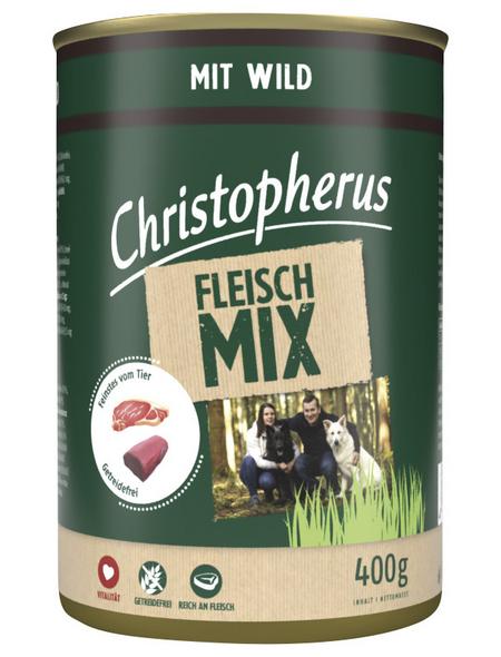 CHRISTOPHERUS Hunde-Nassfutter »Fleischmix«, Wild, 400 g