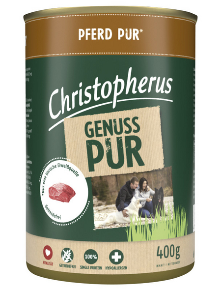 CHRISTOPHERUS Hunde-Nassfutter »Genuss pur«, Ross, 800 g