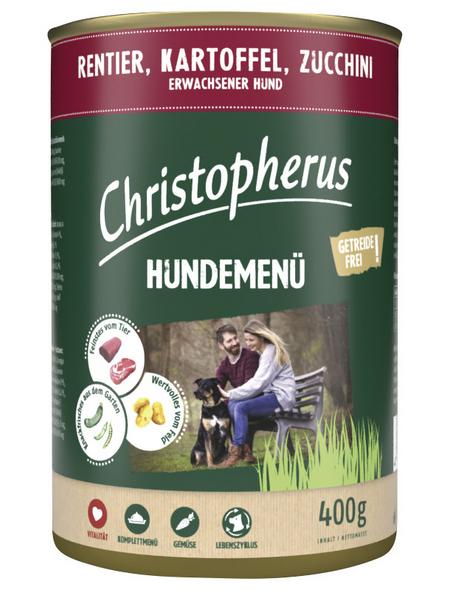 CHRISTOPHERUS Hunde-Nassfutter »Hundemenü«, Rentier, 400 g
