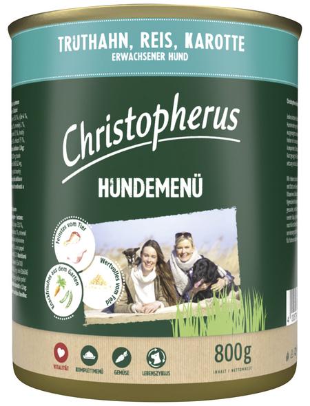 CHRISTOPHERUS Hunde-Nassfutter »Hundemenü«, Truthahn, 800 g