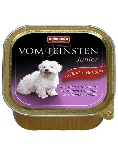 VOM FEINSTEN Hunde-Nassfutter »Junior«, Rind/Geflügel, 150 g