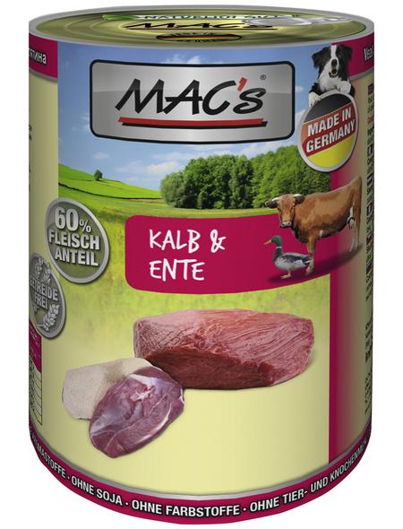 MAC'S Hunde-Nassfutter, Kalb/Ente, 6 Dosen