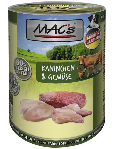 MAC'S Hunde-Nassfutter, Kaninchen/Gemüse, 6 Dosen