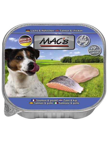 MAC'S Hunde-Nassfutter, Lachs/Huhn, 11 Schalen