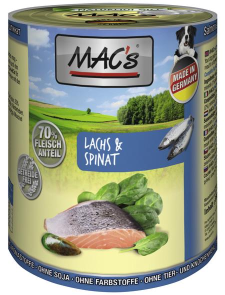 MAC'S Hunde-Nassfutter, Lachs/Spinat, 6 Dosen