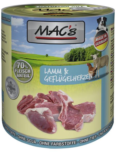 MAC'S Hunde-Nassfutter, Lamm/Geflügel, 6 Dosen
