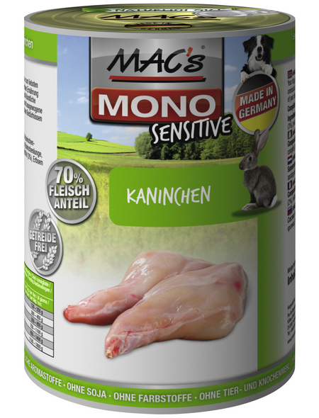 MAC'S Hunde-Nassfutter »Mono«, Kaninchen, 6 Dosen
