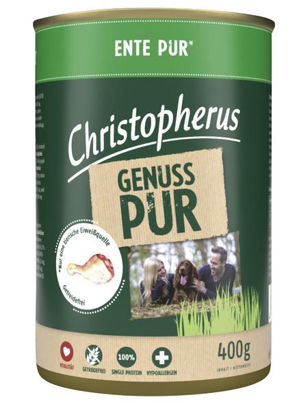 CHRISTOPHERUS Hunde-Nassfutter »Pur«, Ente, 400 g