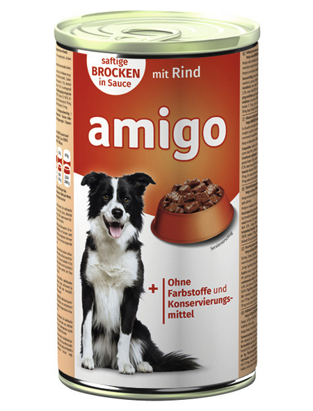 Amigo Hunde Nassfutter, Rind, 1240 g