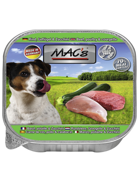 MAC'S Hunde-Nassfutter, Rind/Geflügel, 11 Schalen